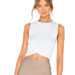 ALO Yoga White Twist-Front Cover Cropped Tank
